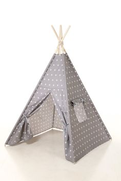 Items similar to Kids Teepee Tent with gray stars pattern - Plain cotton indoor children's tipi with poles , kids gift on Etsy
