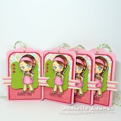 Celebrate Tags featuring Pink Dual Striped Cotton Twill ribbon and Green Apple Divine Twine.