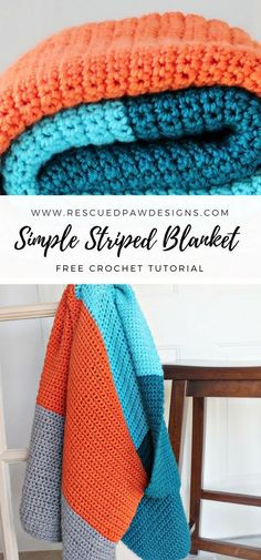 Simple Color Blocked Crochet Blanket Pattern ⋆ Rescued Paw Designs Crochet by Krista Cagle