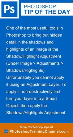Photoshop tip of the day - Shadows/Highlights Adjustment. Photoshop tips. Nordic360.