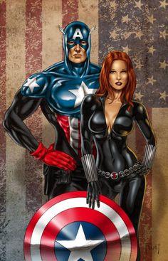 Captain America & Black Widow<3