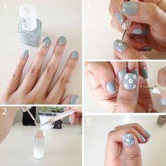 cute flower nail art tutorial