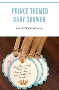 These prince themed baby blue and gold party favor tags will be the perfect addition to your baby shower or baby sprinkle. The tags were designed to be tied to barefoot wine (or another brand) mini bottles. Check out my Etsy based Party Decor shop, Declan & Smith, for more options.   #babyboy  #babyboybabyshower  #boybabyshower  #princebabyshower  #babyblueandgold  #blueandgoldbabyshower  #babyshowerpartyfavors  #partyfavors Baby Shower Party Favors, Party Favor Tags, Baby Shower Themes, Baby Boy Shower, Baby Shower Decorations, Shower Ideas, Second Baby Showers, Barefoot Wine, Having A Baby Boy