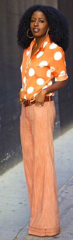 Polka Dot Shirt + Flared Trousers by Style Pantry