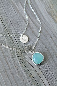 Sterling silver Layered Initial Necklace by potionumber9 on Etsy I would want H on mine