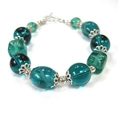Teal Lampwork Bracelet Sterling Silver by RoughMagicCreations, $35.00