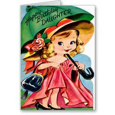 Little Daughter and Umbrella Retro Happy Birthday Cards