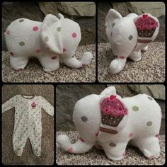 Take an old baby sleeper onesie and make it into a cute stuffed animal keepsake . Take an old baby sleeper onesie and make it into a cute stuffed animal keepsake Sewing Stuffed Animals, Cute Stuffed Animals, Memory Crafts, Baby Crafts, Sock Animals, Clay Animals, Diy Bebe, Sock Toys, Baby Sleepers