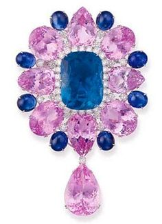 Pink and Blue Sapphire  Diamond brooch