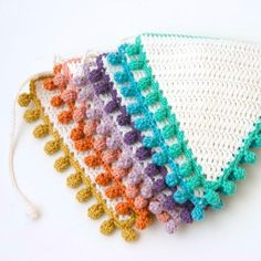 (4) Name: 'Crocheting : Bunting: Flags with Bobbles / Pom poms