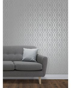 The Apex Geometric Trellis Wallpaper has a contemporary metallic silver finish which has been set upon a stone grey background. Free UK delivery available