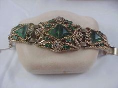 Exquisite Green CZECH GLASS Antiqued Gold Finish by baublesbeads, $79.00