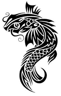 This is a design of a Koi Fish Did you know. Koi are called 'living jewels' thanks to their fantastic colour schemes. Koi Symbolize Good For. Orcas, Tribal Tattoo Designs, Tribal Tattoos, Dragon Koi Tattoo Design, Celtic Tatoo, Coy Fish Tattoos, Fish Stencil, Koi Fish Designs, Printable Tattoos