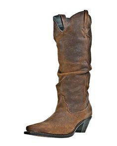 """Women's Muse Boot - Brown $137.95   •Shabby Leather  •15"""" Slouched Shaft  •Comfort Cushion Insole  •Snip Toe  •Composition Outsole  •Western Heel"""