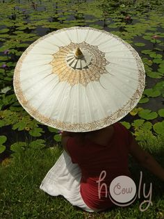 Hand Painted White Parasol White Umbrella by HolyCowproducts