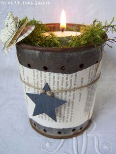 book paper around metal candle holder - twine and star