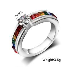 Rainbow Engagement Band Ring