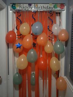 Birthday Morning Surprise Door Decorations, if only I can get them to sleep in their room.