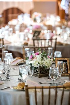 Love this table setting with metalic square boxes for the centerpieces | FEAST at Round Hill in Hudson Valley, NY | Jason Windau Photography