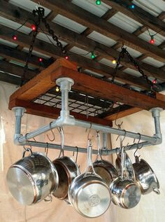 Pipe and wood kitchen pan rack