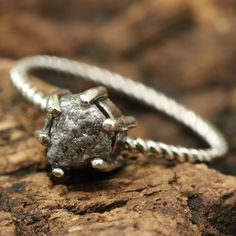 Wedding ring rough diamond in prongs setting with oxidized sterling silver twist design band Check more at
