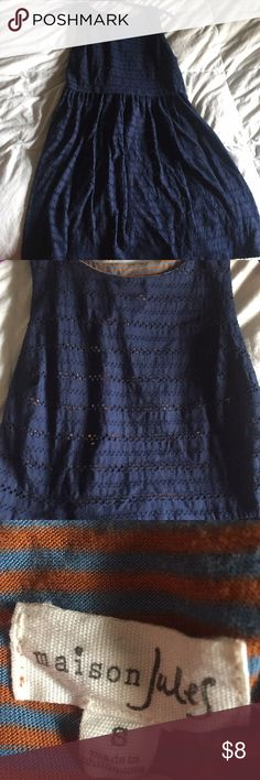 Navy laced overlay dress! BRAND NEW! NEVER WORN! SUPER SOFT grey and orange striped jersey cotton underlay, with cute laced navy overlay! Perfect for an office or day out! Maison Jules Dresses Mini