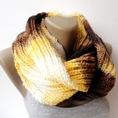 yellow brown knitted scarf , infinity scarf, circle scarf, eternity scarf, winter scarves, women and men scarf