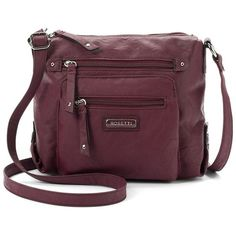 Rosetti Carlene Crossbody Bag (Red) ($15) ❤ liked on Polyvore featuring bags, handbags, shoulder bags, red, purple crossbody purse, purple crossbody, vegan handbags, faux leather handbags and purple handbags