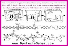 Does your student still struggle with reading confusion, spelling, messy handwriting or letter reversals? Use ART & Logic Games to trick the brain into overcoming Dyslexia!  Get 8 Dyslexia Therapy Worksheets for FREE and save $10 on Dyslexia Games! CODE: take10  FREE WORKSHEETS: http://www.dyslexiagames.com/#!8-free-worksheet-pages/c245u
