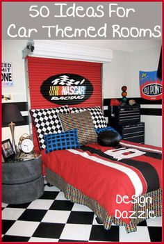 Decorating a boys room can be out-of-the-box fun since it allows you to use decorative pieces that wouldn't work in most other rooms of your home. For instance – car tires made into a bed side table work in this kids room. I hope all of the 50 ideas insp Bedroom Themes, Kids Bedroom, Bedroom Decor, Car Bedroom Ideas For Boys, Garage Theme Bedroom, Racing Bedroom, Dream Bedroom, Race Car Room, Car Themed Rooms