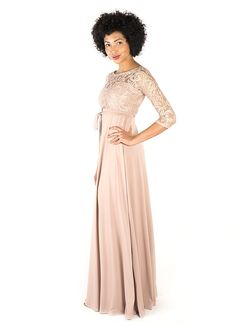 3/4 Sleeve Lace Maxi Dress. Bridesmaid Dress. Mother of the Bride Dress. Nude. Truffle.