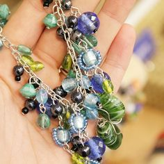 Fair trade blue and green necklace handmade in India!