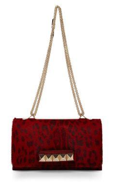 Valentino Red Leopard Pony Hair Va-Va-Voom Handbag
