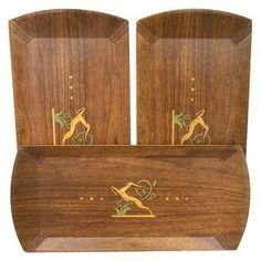 Vintage Hasko Gazelle Buffet Trays - Set of 3