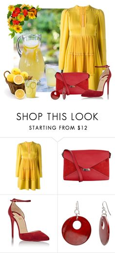 """""""L - Lemon"""" by cris-1121 ❤ liked on Polyvore featuring Valentino, CÉLINE, Christian Louboutin and Mixit"""