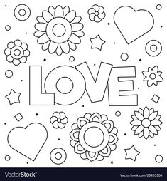 Love coloring page black and white Royalty Free Vector Image Love Coloring Pages, Mandala Coloring Pages, Coloring Pages For Kids, Coloring Sheets, Coloring Books, Simple Pictures, Colorful Pictures, Merry Christmas Coloring Pages, Tracing Art