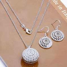 Elegant 925 Sterling Silver Chain Jewelry Sets ( Hoop Earring and Necklaces)