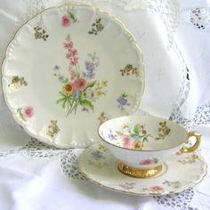 RESERVED for CHING vintage teacup tea cup trio german porcelain tea cups tea…