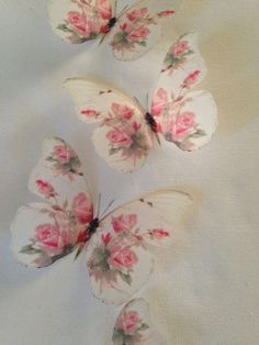 home accessories White shabby chic - 4 Stunning Shabby Chic Pink Rose Butterflies Butterfly Decals Accessories each