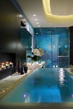Contemporary Master Bathroom with Master bathroom, Large Ceramic Tile, Led lighting, Handheld showerhead, High ceiling