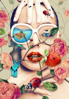 photomanipulation fantasy digital color rose bird nature fruit goldfish