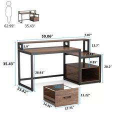 Computer Desk Design, Computer Desks For Home, Office Table Design, Home Desk, Home Office Desks, Office Workspace, Desk With File Drawer, Office Desk With Hutch, Desk Hutch