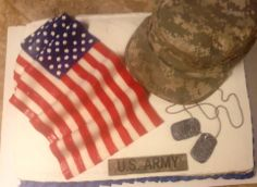 Military welcome home cake for my son who's in the Army.  Made by Country Cowgirl's Creations