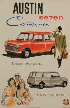 The Great Charm of Vintage Cars - Popular Vintage Mini Countryman, Mini Clubman, Mini Cooper S, Vintage Advertisements, Vintage Ads, Vintage Shoes, Classic Mini, Classic Cars, British Sports Cars