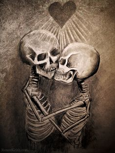 Valentine Skeleton Kiss Drawing. Artwork by Renee Keith. http://reneekeith.com/