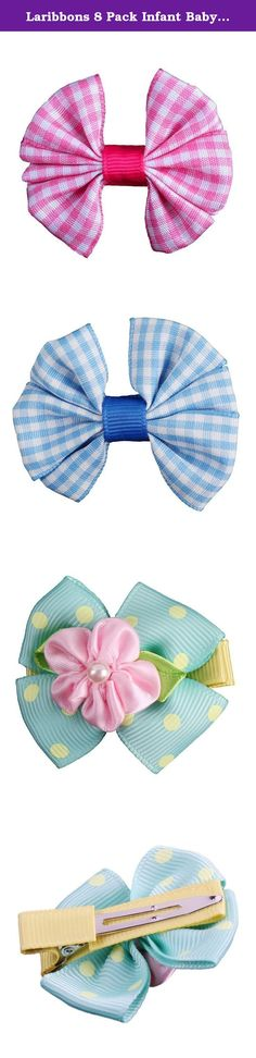 Laribbons 8 Pack Infant Baby 2.2'' Hair Bow Clips, Barrettes for Girls. 100% Handmade Package include 8pcs different color hair bow clips 2.2'' Hair Bow Size, Alligator Clips Come with Luxury Organza Bags Perfect For Newborns, Toddlers, Baby Girls.