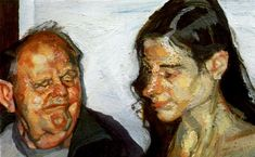 Daughter and Father, 2002 by Lucian Freud. Expressionism. portrait
