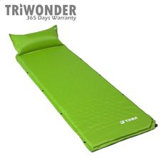 Triwonder 210T Polyester Fabrics Lightweight Self-Inflating Camping Sleeping Pad with Inflatable Pillow (Green). Comfortable mat with built-in pillow ensures comfort while camping. Compression straps for compact storage and easy transport. Nice a snap fastener design which can be combined together with other pad. Self-inflating for convenient in use. Built-in inflatable pillow (manual inflating required). Great for backpackers, campers, hikers or indoor use.