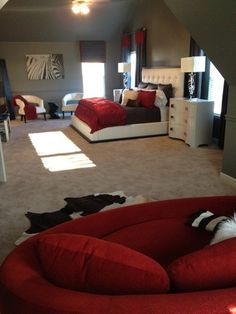 Red Black And White Contemporary Bedroom By Simone Alisa White Bedroom Decor,  Master Bedroom Interior