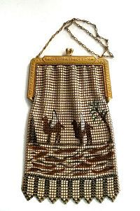 Rare Egyptian Influence El-Sah Figural Mesh Purse with Desert Scene Sheiks on Camels